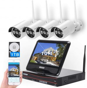 All in one with 10.1 Monitor Wireless Security Camera Systems